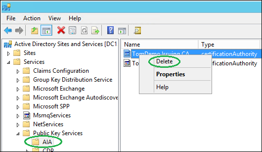 Manually remove old ca references in active directory microsoft image yelopaper Images