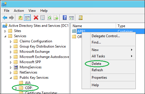 Manually remove old CA references in Active Directory