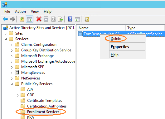 Manually remove old CA references in Active Directory | Microsoft ...
