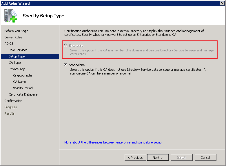 The Option Enterprise Unavailable During Ca Installation