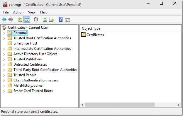 Quick access to the Certificate snap-ins | Microsoft Security Solutions
