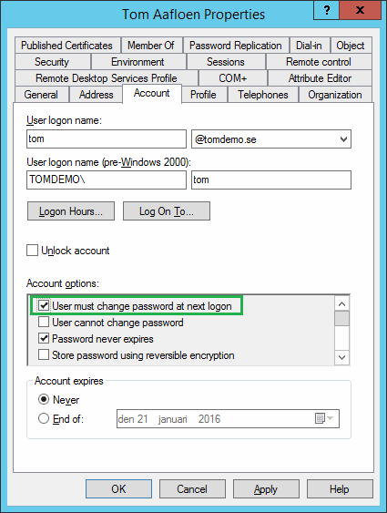 Forced password change at next logon and RDP | Microsoft Security